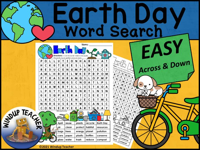 Earth Day Word Search EASY Puzzle