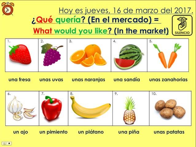 KS3/4 Spanish - En el mercado, ¿qué quería? / In the market, what would you like? (Food/quantities)