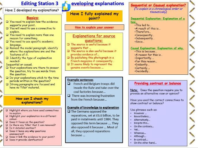 Developing Explanations Editing Station