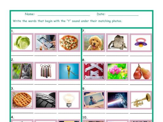 Phonics T Sound Photo Worksheet