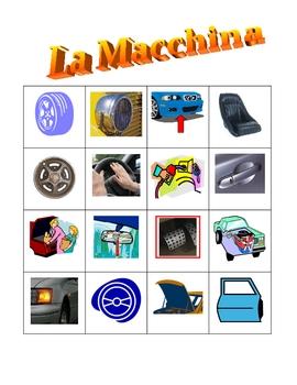Car parts in Italian Bingo game