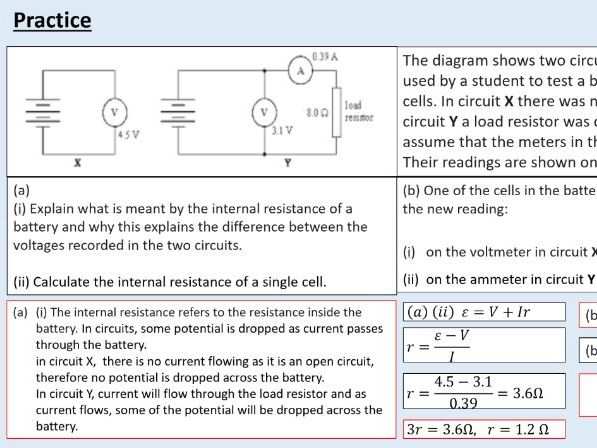 A level Physics (13.4) More circuit calculations (Direct current circuits)