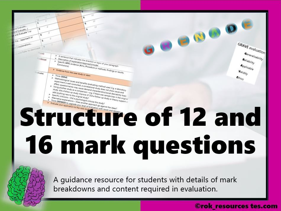 Structure 12 & 16 mark questions AQA Psychology