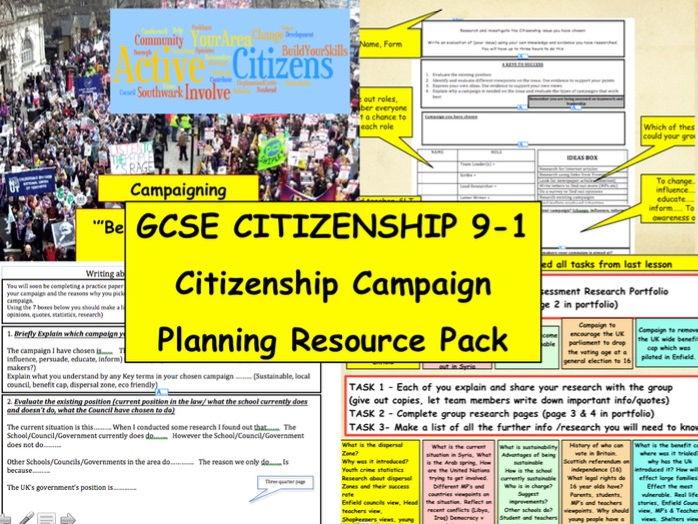 NEW GCSE CITIZENSHIP 9-1 - Citizenship Campaign Planning Resource Pack