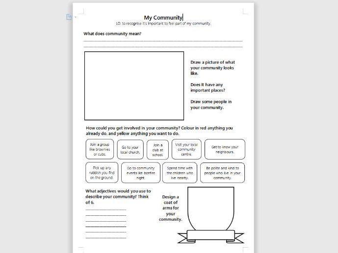 RE My Community Worksheet Activity KS1/SEN