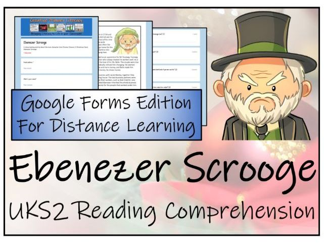 UKS2 Ebenezer Scrooge Reading Comprehension & Distance Learning Activity