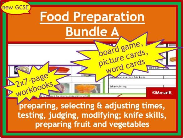 Food Preparation, AQA / EDEXCEL: 1st of 3 bundles incl. 2x 7page Food Tech work books, board game, cue-cards, activity cards
