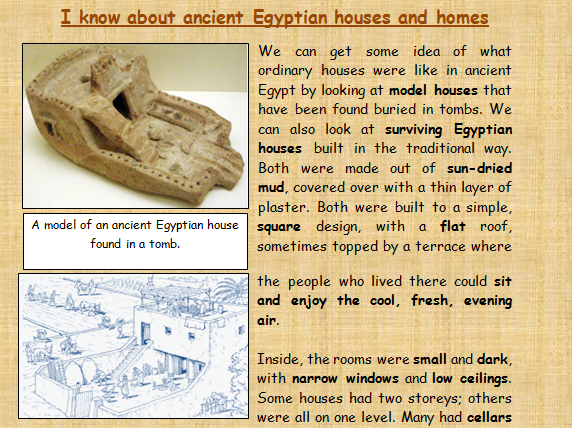 I know about ancient Egyptian homes and houses comprehension