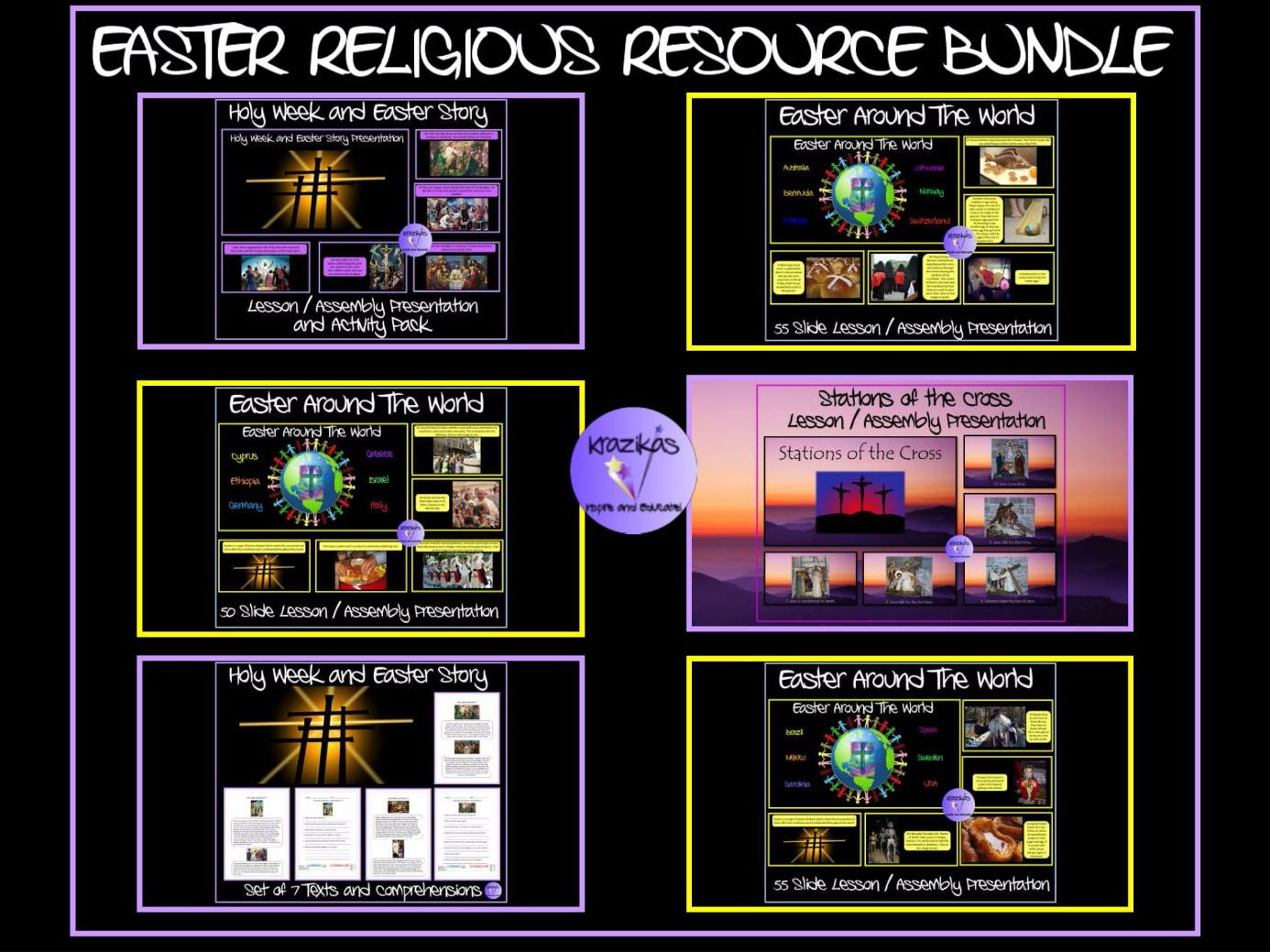 Easter and Holy Week Bundle - Five Easter Lesson / Assembly Presentations, Easter Texts and Comprehension Questions, Activity Pack