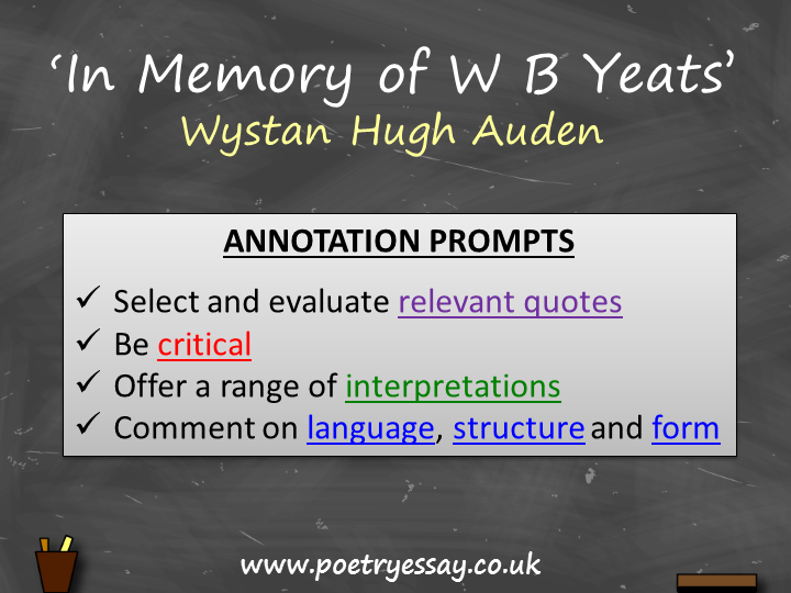 W H Auden – 'In Memory of W B Yeats' – Annotation / Planning Table / Questions / Booklet
