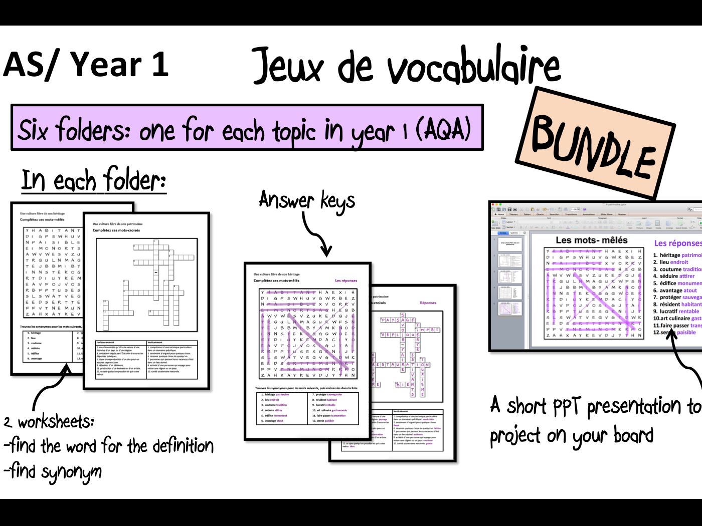 Vocabulary Games/ Worksheets- Year 1/AS- A Level French- BUNDLE