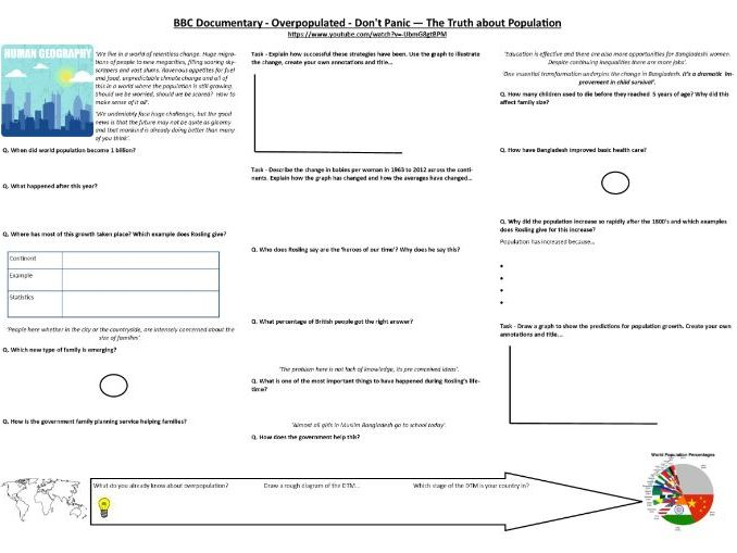 A Level/9-1 - BBC - Overpopulated - Don't Panic - The Truth about Population - Supporting Worksheet
