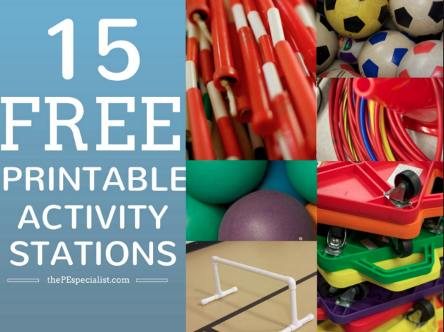 15 Awesome Station Activities for PE Class  |Printable Station Signs|
