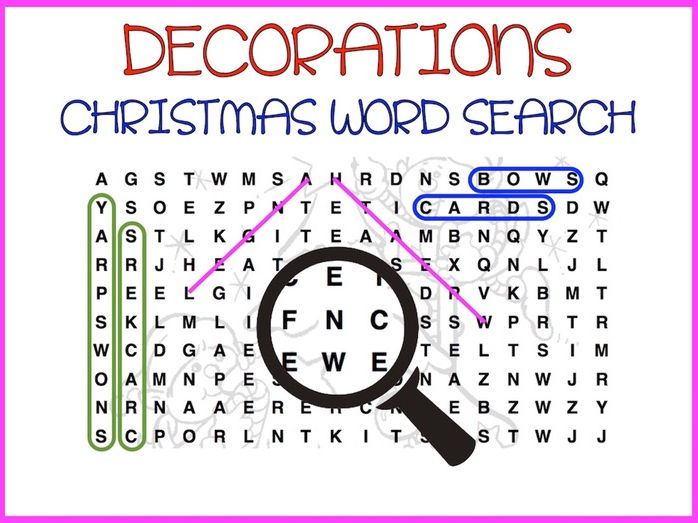 Word Search (Christmas Decorations)
