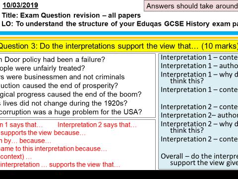 Eduqas/WJEC GCSE History USA 1910-1929 exam question revision PowerPoint & worksheet