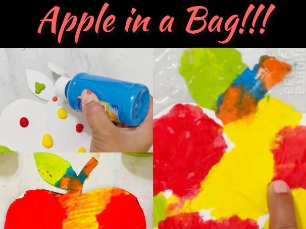 Apple in a Bag, Sensory color mixing art and science activity Printable