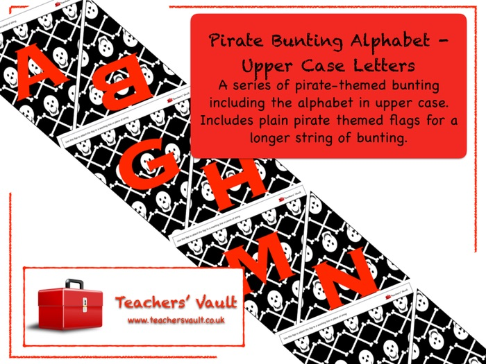 Pirate Bunting Alphabet - Upper Case Letters