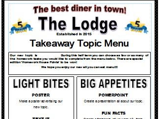 Homework - Takeaway Menus to enhance learning