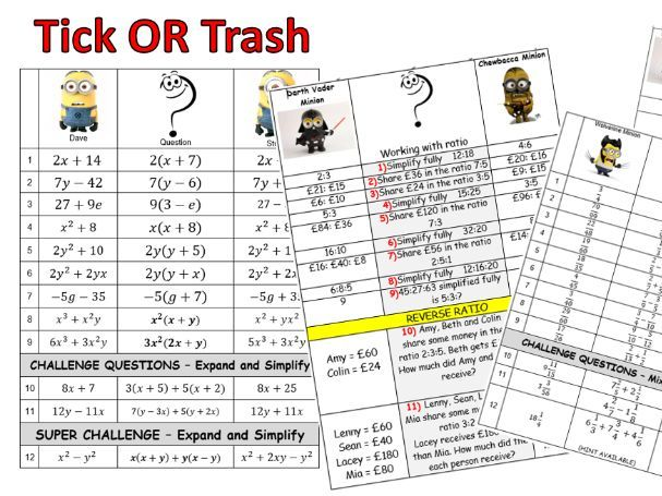Maths Tick or Trash  (44 worksheets)