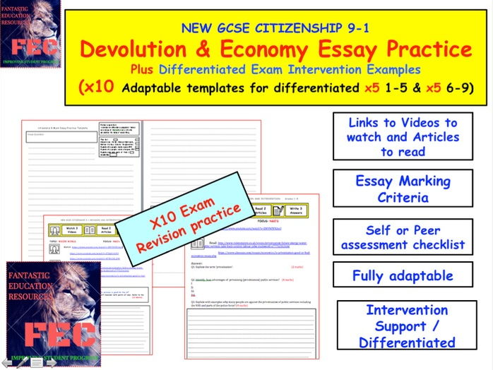 Devolution and Economy Essay Practice Citizenship GCSE 9-1