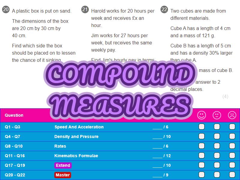Compound Measures Worksheet + Answers (Foundation GCSE)