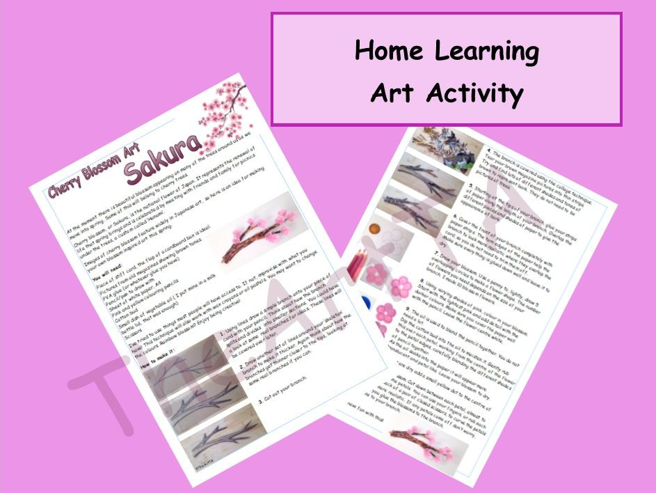Cherry Blossom Art Activity, Mixed Media