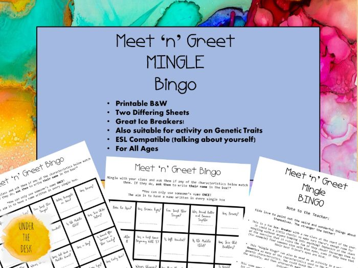 MEET 'N' GREET MINGLE BINGO: Ice Breaker for the New Year/ Genetics Unit