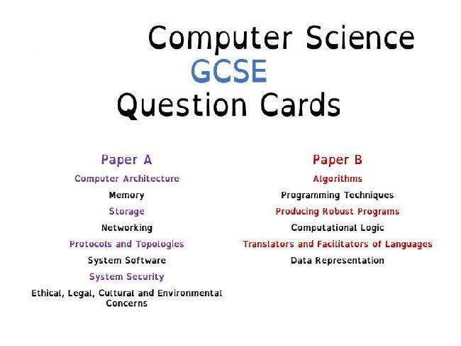 OCR J276/J277 - Computer Science GCSE - Revision Cards