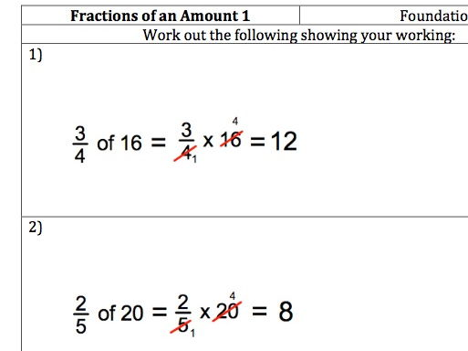 GCSE Maths - Fractions of an Amount - 40 Questions with worked answers.