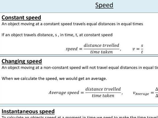 A level Physics (7.1) Speed and velocity - Kinematics - (On the move)