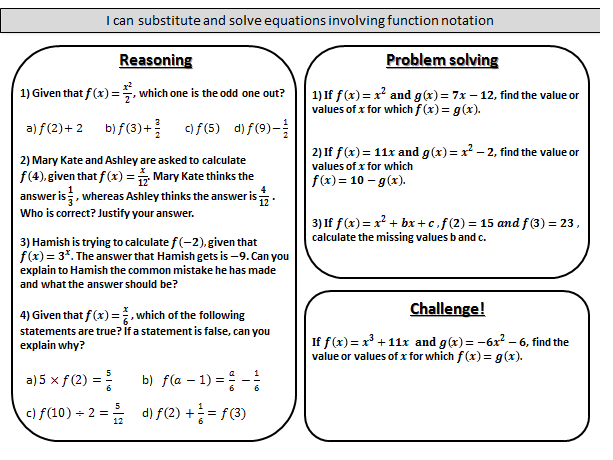 Introduction to function notation - mastery worksheet