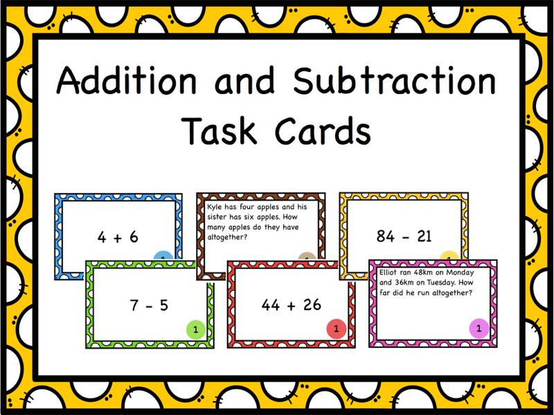 Single and Double Digit Addition and Subtraction Task Cards