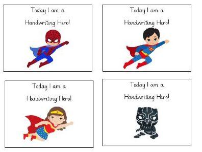 Handwriting hero labels