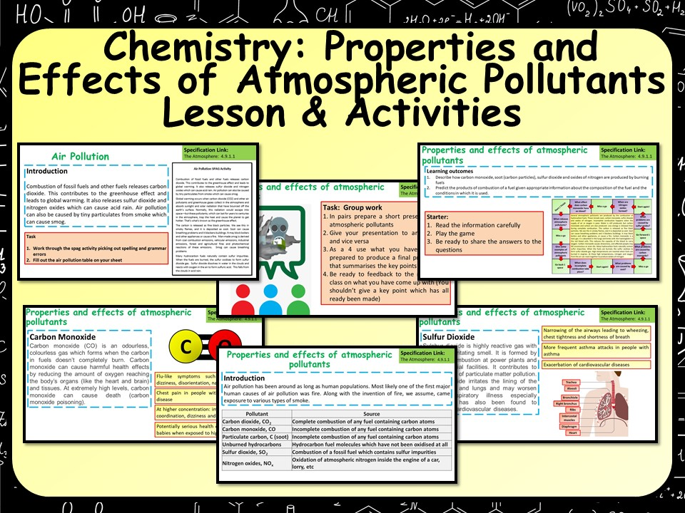 AQA KS4 GCSE Chemistry (Science) Atmospheric Pollutants Lesson | Teaching Resources