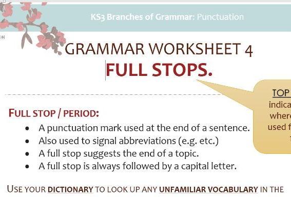 Grammar Worksheet 4: Full Stops