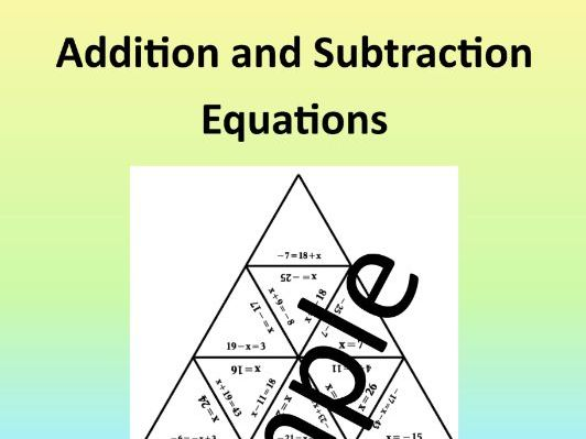 Addition and Subtraction Equations – Math Puzzle