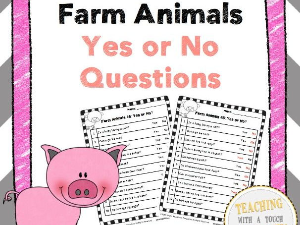 Farm Animal Yes Or No Questions