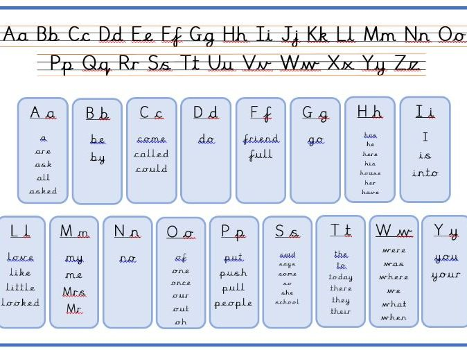 Year One Common Exception Word Mat with alphabet