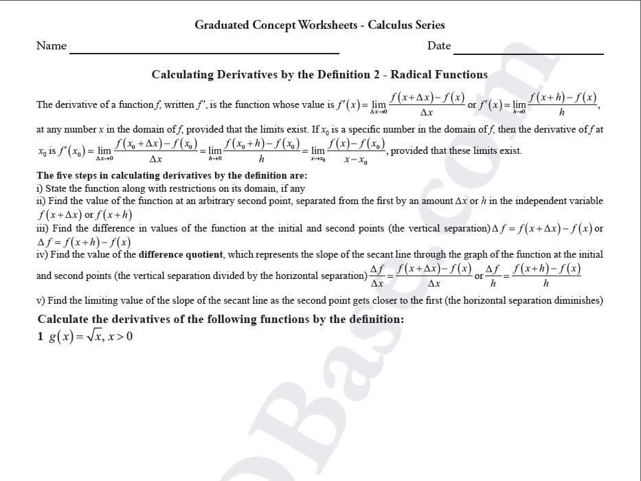 Calculus Worksheet - Derivatives by Definition 2 - Radical Functions