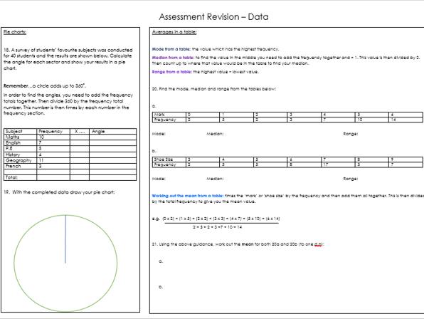 Data Revision Worksheet KS3