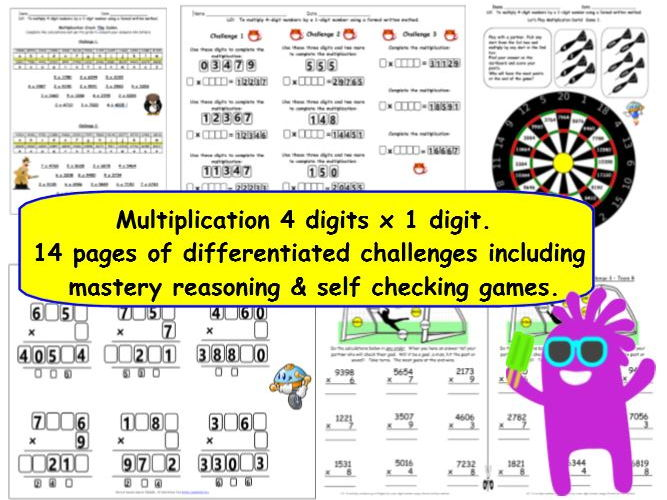 KS2 Y5 Multiplication 4-digits by 1-digit Differentiated Challenges & Self Checking Games