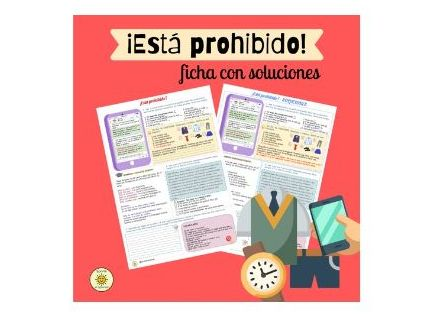Está prohibido. Las reglas/normas en el insti. Soluciones.Spanish GCSE rules in school. With answers
