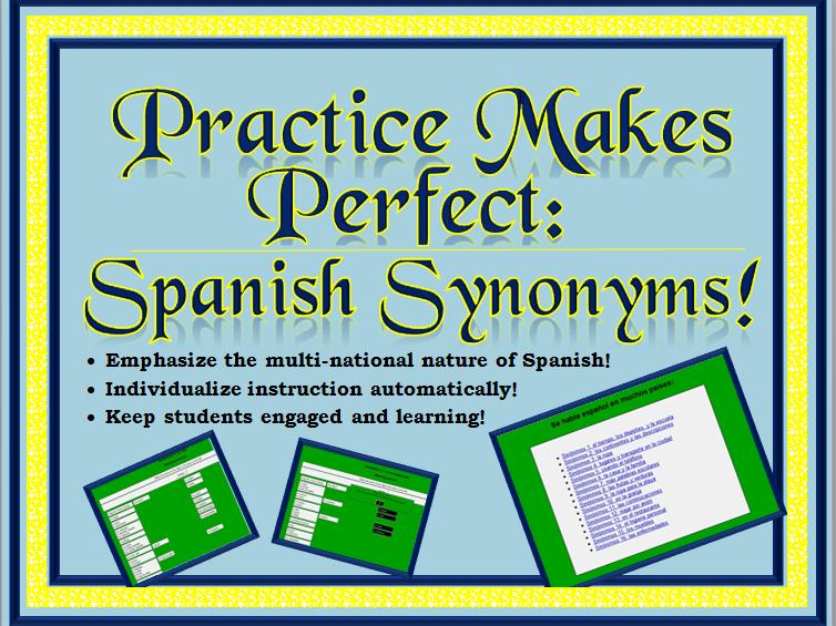 Spanish Interactive Exercises -- Spanish Synonyms Level 1