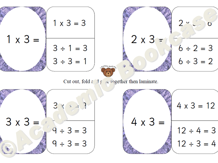 Self check flashcards - 3, 6, 4 and 8 times table with inverse
