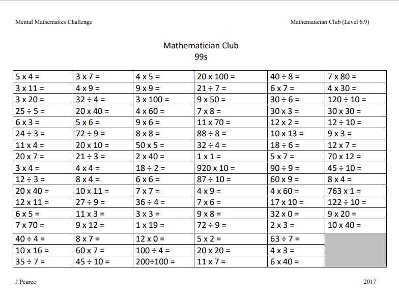 Mental Maths Challenge Upper KS2 Including answer sheets