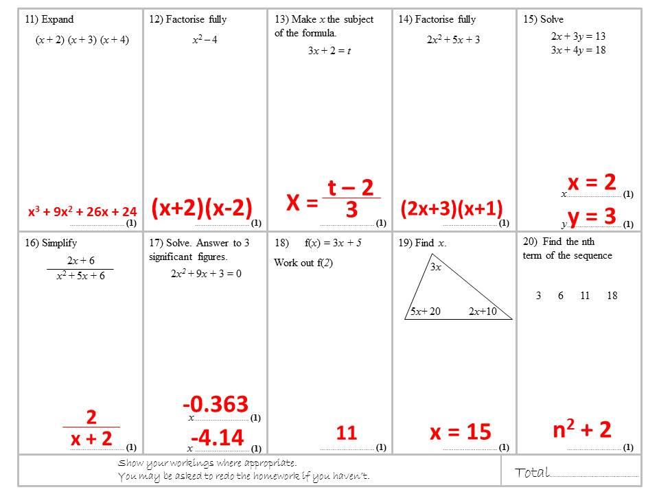 Algebra Homework or Revision Worksheets - Grade 4 to 6