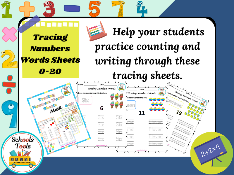 Tracing Number Words Sheets 0-20