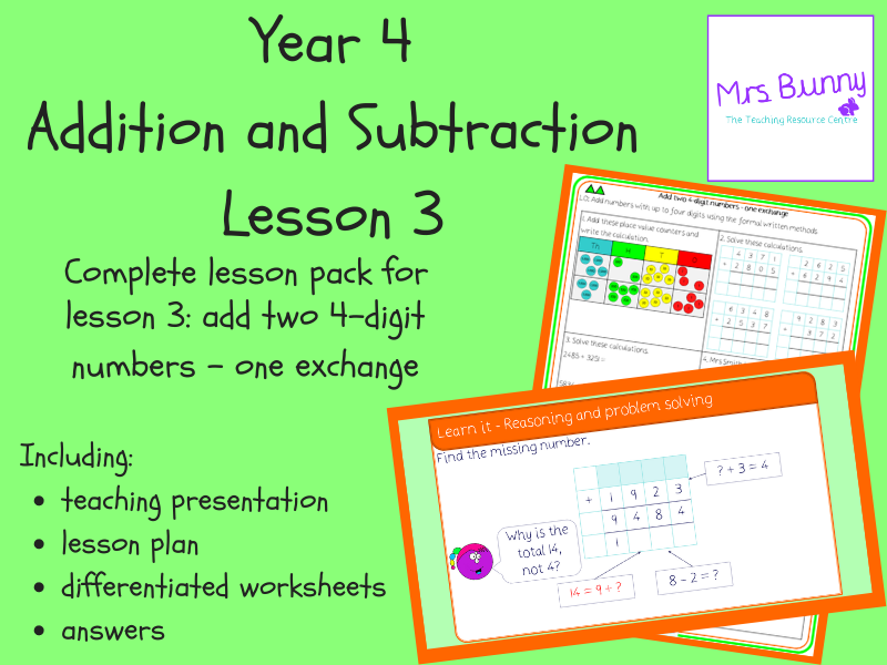 Add two 4-digit numbers - one exchange lesson pack (Year 4 Addition and Subtraction)