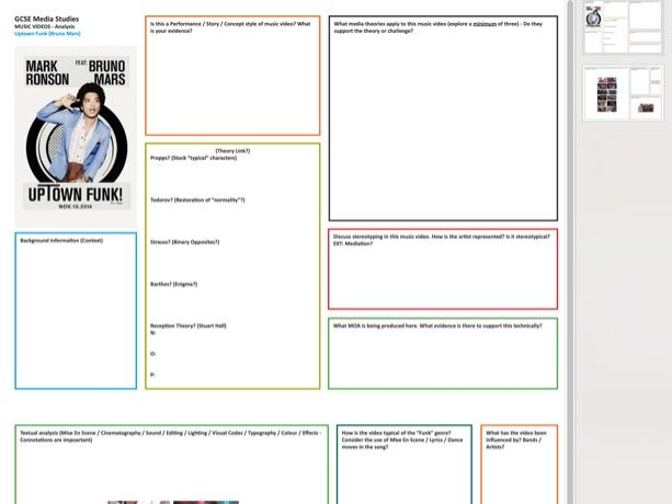 Bruno Mars [Uptown Funk] Music Video Case Study Worksheet [Double Sided] PDF A3 (Scalable)