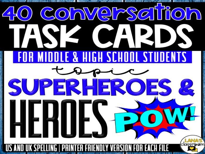 Conversation Starter Cards | Heroes&Superheroes | Social Skills for Middle&High